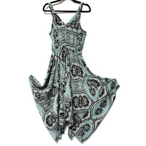 H & M turquoise lotus flower handkerchief dress 10